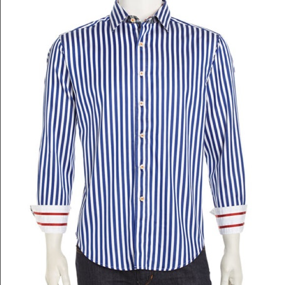 e91b99266cf7b4 Robert Graham Shirts | Blue And White Striped Dress Shirt | Poshmark